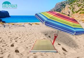 ομπρέλα Μια μεγάλη, ανθεκτική ομπρέλα θαλάσσης SOLART, με εξαερισμό, θήκη μεταφοράς, 1 πλαστική βάση σφήνα για την ομπρέλα & μία ψάθα παραλίας με μόλις 13€