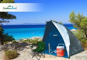τέντα Μία τέντα παραλίας ή μία πτυσσόμενη οικονομική πολυθρόνα, με μόλις 9,9€