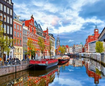 River Houses In Amsterdam Netherlands
